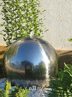 Solar Stainless Steel Sphere 42cm Garden Water Feature & LED Light by Aqua Moda