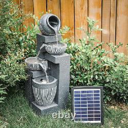 Solar Stone Effect Cascade Outdoor Garden Water Feature LED Fountain Pump Set UK