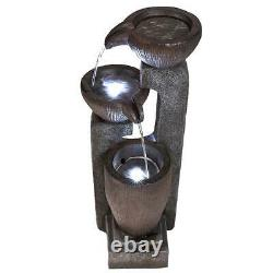 Solar U Shape Bowls Garden Water Feature with Battery Back Up and LED Lights