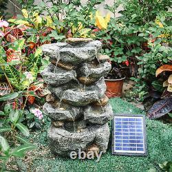 Solar Water Feature Solar Fountain Garden Solar Powered Outdoor Cascade Pump Led