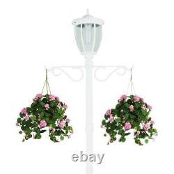 SunRay Lamp Post Planter 1-Light Outdoor White Integrated LED Solar Aluminum