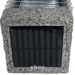 Sunnydaze 18-Inch Outdoor Cement Bollard Solar Pathway Lights Set of 4