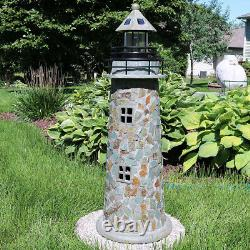 Sunnydaze Outdoor Garden Solar LED Cobblestone Lighthouse Statue Decor 35