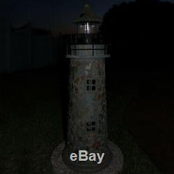 Sunnydaze Outdoor Garden Solar LED Cobblestone Lighthouse Statue Decor 35-Inch