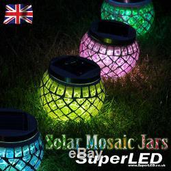 SuperLED + Solar Garden Mosaic Jar Lights, Red, Green, Blue & Gold NEW EFFECT