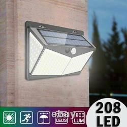 Super Bright 208LED PIR Motion Solar Lights Outdoor Garden Security Wall Lamp UK