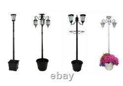 Tall Solar Lamp Post/ Outdoor Garden Lantern With Planter Under & White LED