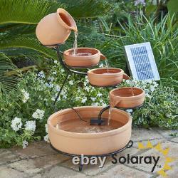 Terracotta Solar Cascade Water Feature with Led Lights Outdoor Garden Patio 55cm