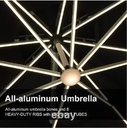 Top Solar LED Round Umbrella Outdoor Garden Red 3.3M PURPLE LEAF No base