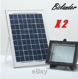 Twin Pack Bizlander 108LED Solar Powered Flood Light for Outdoor Garden Light