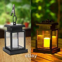 Waterproof Solar Powered Lantern Hanging Light Outdoor Garden LED Candle Lamp UK