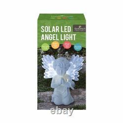 White Garden Outdoors Gravestone Praying Cupid Angel Solar Light Ornament Statue